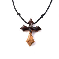 Christian Jewelry, Men Cross Necklace, Wooden Cross Necklace, Wood Cross Pendant, Wood Pendant, Wood Jewelry, Hand Carved Cross, Wood Cross