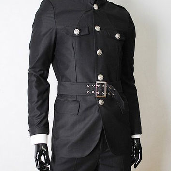 Black Stand Collar Button Designed Waist-Belt Long Sleeves Coat