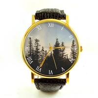 Pine Trees Vintage Photo Watch, Minimalist Watch, Mountain Scene, Ladies Watch, Men's Watch, Hiking, Nature, Modern, Analog, Gift Idea