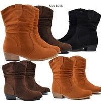 Women's Ankle Boots Western Fashion Faux Suede Low Heel Lety-28 Booties Sz 6-10