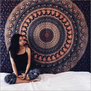 Indian Mandala Tapestry Wall Hanging Hippie Elephant Bedspread Ethnic Beach Towel Throw Tablecloth Art Carpet Home Decor