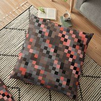 'Pixelated Peach and Blue' Floor Pillow by Christy Leigh