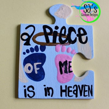 A piece of my heart is in Heaven, Infant loss awareness, Child loss awareness, SIDS, Kitchen  Magnets, refrigerator magnets, memorial piece