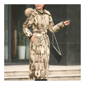 Big Fur Collar Plus Size Extra Long Thick Slim Down Coat    camouflage    S