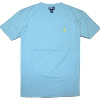 Polo Ralph Lauren Men's V-Neck T-Shirt (Large, Offshore Blue)
