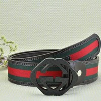 Cheap GUCCI Woman Men Fashion Smooth Buckle Belt Leather Belt for sale q_2291738334_020