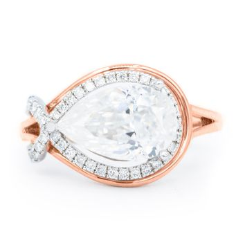 BIG1262 - 10x7mm Pear Moissanite 14K Two-Tone White and Rose Gold 3 Prong Diamond Halo Ring