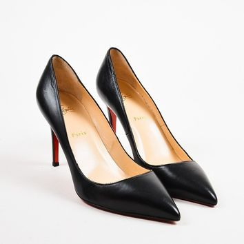 ONETOW Christian Louboutin Black Leather  Pigalle 100  Pointed Toe Pumps