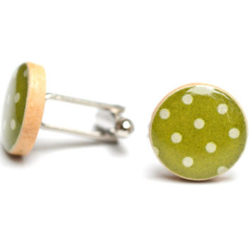 Green polka dot cufflinks, 5th anniversary gift wood cufflinks polka dot cufflinks mens accessories unique cufflinks by starlight woods