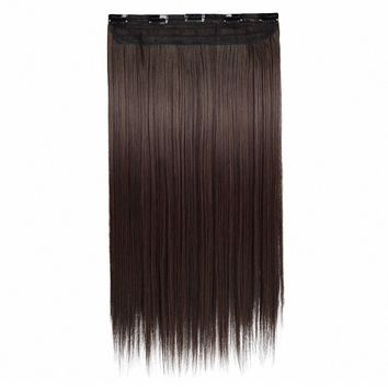 "24"" One Piece 3/4 Full Head Clip in Hair Extensions Long Straight Synthetic Hair Extensions 5 Clips Hairpieces"