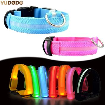Nylon LED Pet collars Dog Leash. , flashing glow in the Dark