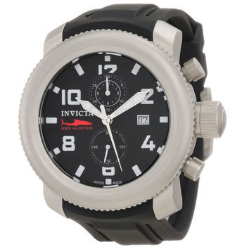 Invicta 1856 Men's Russian Diver Sea Hunter Black Dial Chronograph Black Rubber Strap Watch