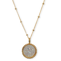 Gold Opal Beaded Druzy Necklace