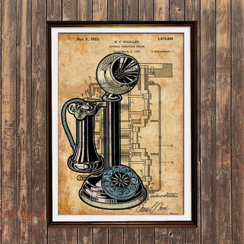 Telephone poster Patent print Vintage print Steampunk decor SOL81