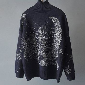 ICIKJ1A Jacquard patterned blue turtleneck sweater