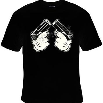 unisex T shirt: cartoon hand guns cartoons disney UNIQUE Cool Funny Humorous clothes T Shirts Tees T-Shirt designs graphic