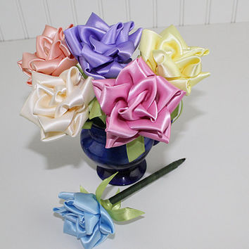 Pastels Ribbon Rose Flower Pen Set Single Color or Assortment of 6 Wedding Favors Reception Pen Party Bridal Shower Handmade Ribbonwork