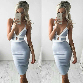 Sexy halter v neck summer dress Women sleeveless sexy bandage casual dress Girl evening party Mini vestidos