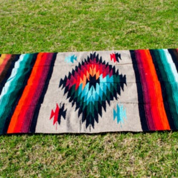 Free Ship Fringed Blanket Colorful Diamond 82x48 Mexican Rug Turquoise