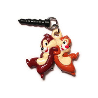 Chip 'n' Dale Walt Disney dust plug phone charm - iphone 4 4s 5 android ipad ipod cellphone accessory