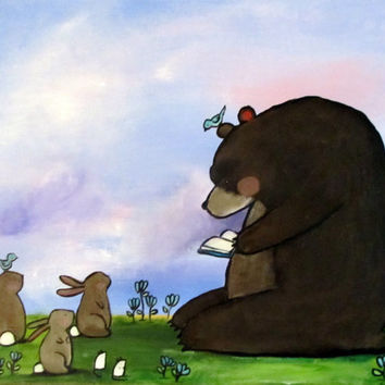 Woodland Nursery Wall Art Bear Reading Books to Bunny Rabbits Kids Painting