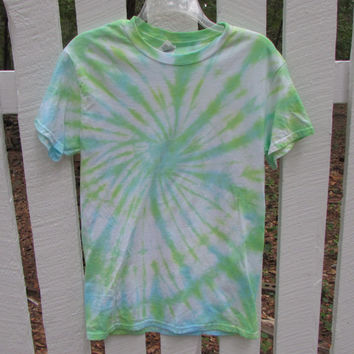 Yellow, Blue, and Green Swirl Tie Dyed Unisex Tee Shirt