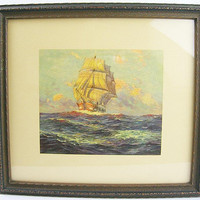 Wall Picture Galleon Ship on High Seas, Wood Frame with Glass Front, Vintage 1940s Nautical Lithograph Print, D.T. Broun, Salt Lake City, UT