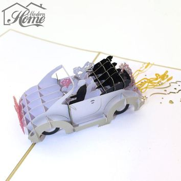 Wedding Car Greeting Card 3D Pop Up Paper Cut Postcard Wedding Invitations Card Valentine Anniversary Invitation Card For Lover