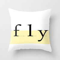 fly ~ yellow option Throw Pillow by Steffi by findsFUNDSTUECKE