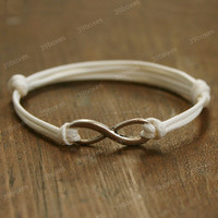 by (39boxes) Infinity bracelet - bracelet in white , unique infinity gift for girls , boys and BFF