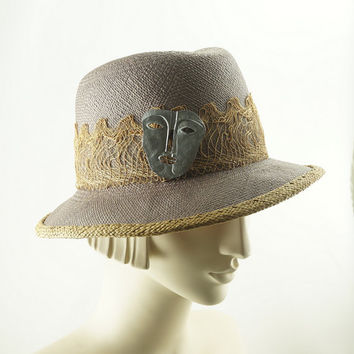 Faded Denim FEDORA HAT for Women / Chambray Panama Straw Hat / Handmade by Marcia Lacher Millinery