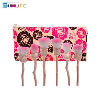 SUMLIFE brand 2017 New Design 6 pcs Rose unicorn Shape Makeup Brushes Foundation Powder Compo Brushes Set Brush Makeup Brush