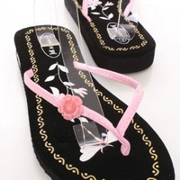 Pink Patent Faux Leather Floral V Strap Thong Post Sandals