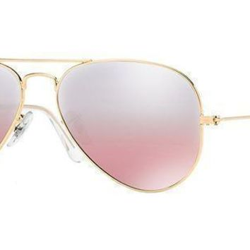 Ray Ban Women's Aviator Rb3025 001/3e Gold Frame/pink Mirror Lens 62 Mm Non Polarized Sunglasses