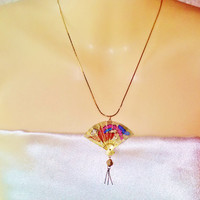 Gold Chinese Asian Fan Pendant Necklace Vintage Japan Hand Fan Opens & Closes Nature Bird Scene Blue Red White Gold Chinese New Year Jewelry