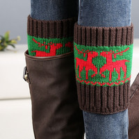 Winter Christmas Deer Knit Boot Cuff Socks