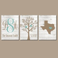 Family Tree Wall Art, Farmhouse Decor, White Wash Wood, Monogram CANVAS or Prints, Wall Decor Wedding Gift, Date Tree Birds State Set of 3