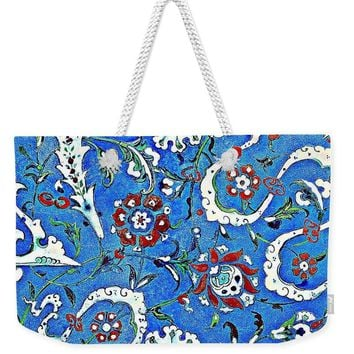 An Ottoman Iznik Style Floral Design Pottery Polychrome, By Adam Asar, No 15b - Weekender Tote Bag