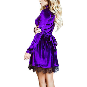 2017 Newly Style Sexy Casual Mini Velour Dress Women Lace Velvet Dress Halter Deep V-Neck Long Sleeve Lace Dress Vestidos GV500