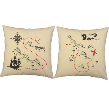 Set of 2 Treasure Map Pirate Pillows - Cotton Covers and/or Cushions - 14x14 and 16x16