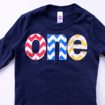 Long Sleeve Birthday Shirt  in NAVY  with chevron in primary colors - red, blue, yellow - 1st Birthday