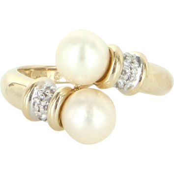 Vintage Bypass Cultured Pearl Diamond Ring 14 Karat Gold Estate Pre Owned Jewelry
