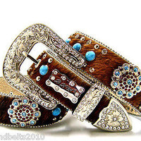 BHW Cowgirl Western Brown Brindle Turquoise Topaz Berry Concho Belt