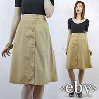 Vintage 70s Knee Length Skirt XS S Khaki Skirt Midi Skirt High Waisted Skirt