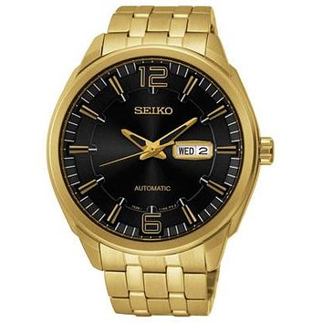 Seiko Mens Recraft Automatic Watch - Black Dial - Gold Tone Stainless Steel Case