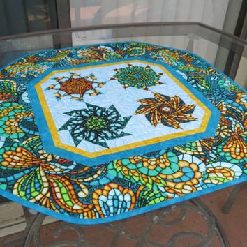 Table Topper Quilted Art Glass Turquoise 621