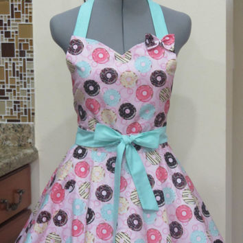 The Sexy Doughnut Shop Pin Up Apron - With a cute little bow - And a hint of Seagreen