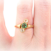 Antique Emerald Diamond Ring, Old Mine Cut Diamonds, Pretty Three Stone Setting, 14K Gold, Victorian Era