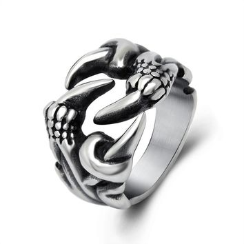Domineering dragon claw men ring tide restoring ancient ways personality open titanium steel jewelry SA730