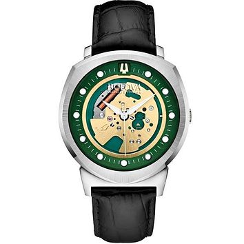 Bulova Accutron II Alpha Watch - Green Skeleton Dial & Leather Strap